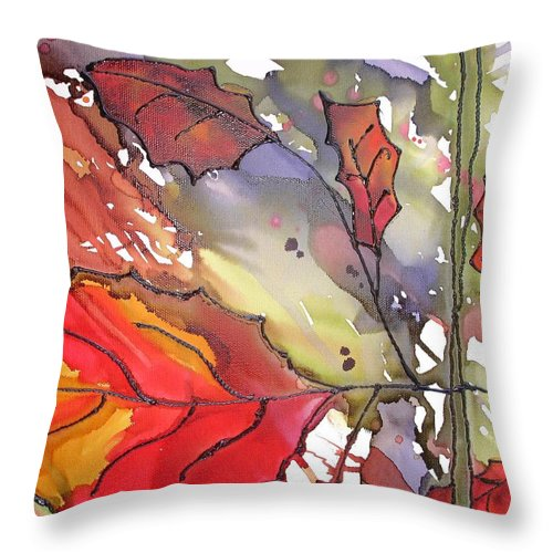 Leaf Throw Pillow featuring the mixed media OctoberThird by Susan Kubes