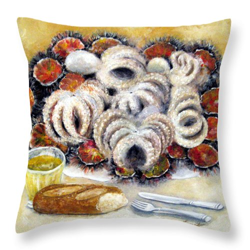 Still Life Throw Pillow featuring the painting Octupus And Sea Urchins Dinner by Leonardo Ruggieri