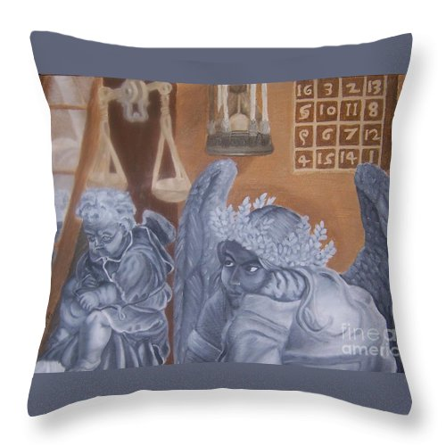 Angel Throw Pillow featuring the painting Ode To Durer by Emily Young