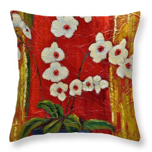Orchids Throw Pillow featuring the painting Ode To Orchids by Ginger Concepcion