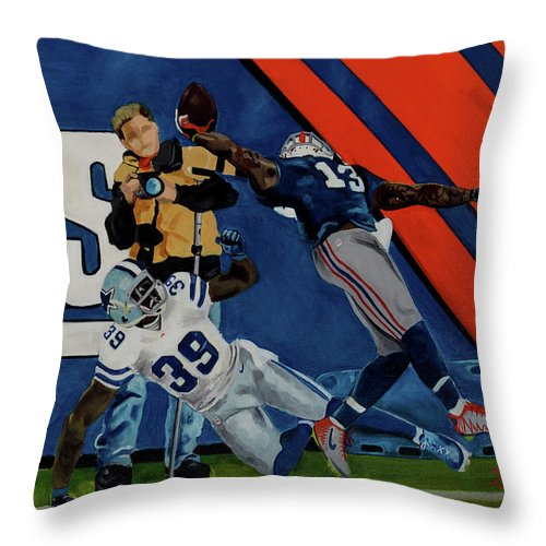 Throw Pillow featuring the painting Odell Beckman Jr. by Sam Papantoniou