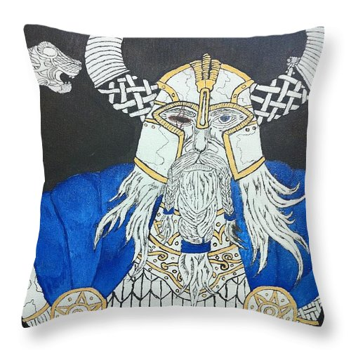 Norse Throw Pillow featuring the painting Odin Watching by Brett Genda