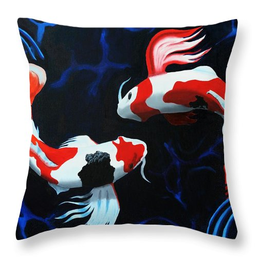 Koi Throw Pillow featuring the painting Odori by D Turner