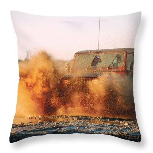 Off Road Driving Throw Pillow featuring the photograph Off Road Mud Splash-1 by Steve Somerville