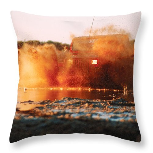 Four Wheel Driving Throw Pillow featuring the photograph Off Road Mud Splash-4 by Steve Somerville