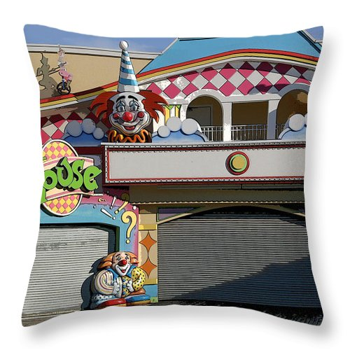 Landscape Throw Pillow featuring the photograph Off Season Boardwalk by Mary Haber