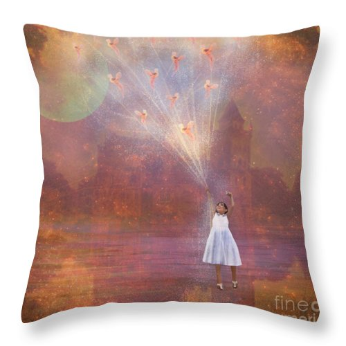 Fairyland Throw Pillow featuring the painting Off To Fairy Land - By Way Of Fairyloons by Carrie Jackson