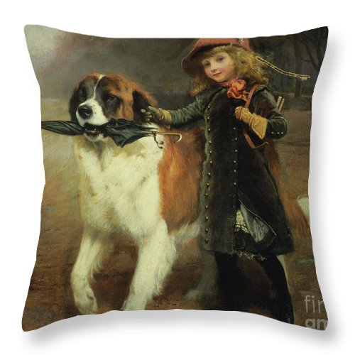 Off To School Throw Pillow featuring the painting Off To School, 1883 by Charles Burton Barber