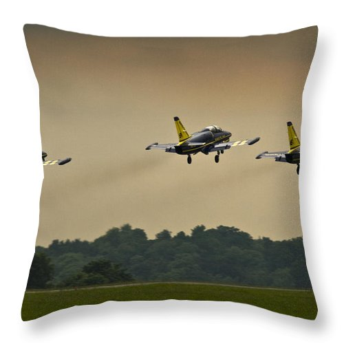 Breitling Jet Team Throw Pillow featuring the photograph Off We Go by Angel Ciesniarska