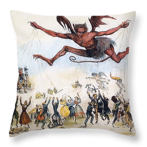 1834 Throw Pillow featuring the photograph Office Hunters Of 1834: by Granger