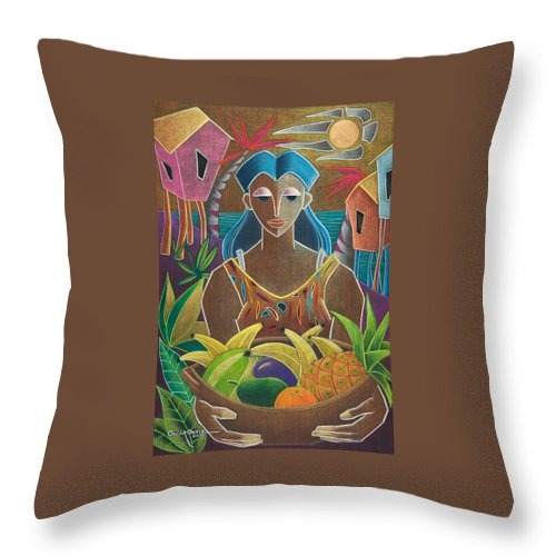 Female Throw Pillow featuring the painting Ofrendas De Mi Tierra by Oscar Ortiz