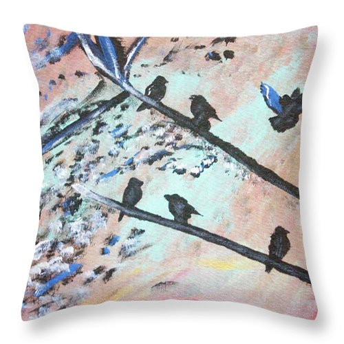 Nature Throw Pillow featuring the painting Oh Birdy by April Harker