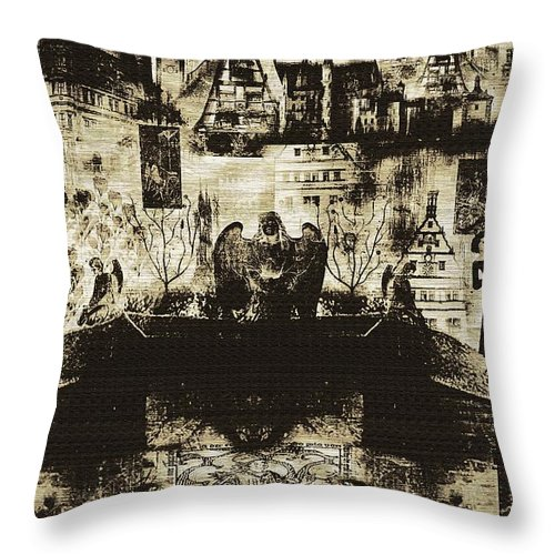 Angels Throw Pillow featuring the digital art Oh Bosch by RC DeWinter