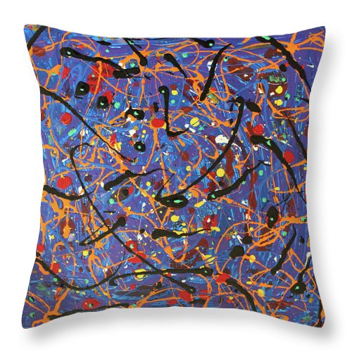 Blue Throw Pillow featuring the painting Oh Happy Day by Pam Roth O'Mara