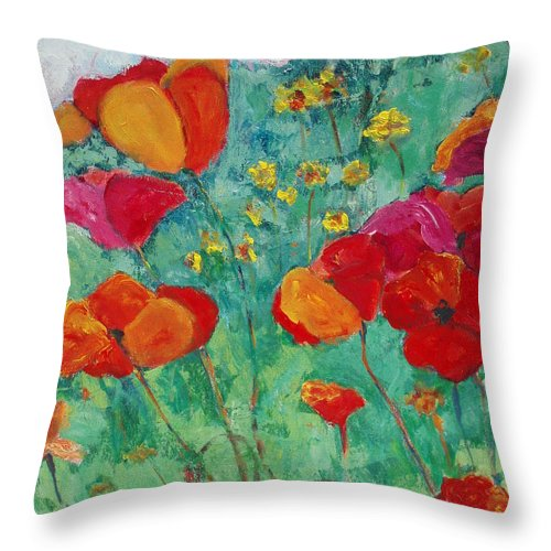 Flowers Throw Pillow featuring the painting Oh Happy Day by Tara Moorman