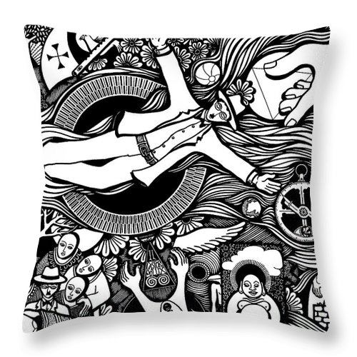 Drawing Throw Pillow featuring the drawing Oh Universe I Am Yours by Jose Alberto Gomes Pereira