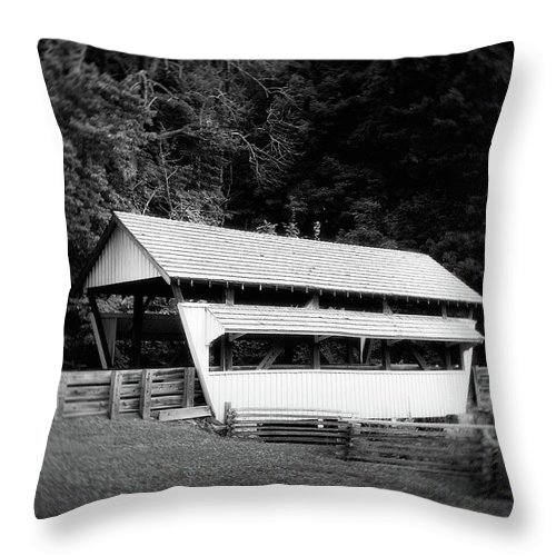 Architecture Throw Pillow featuring the photograph Ohio Covered Bridge In Black And White by Tom Mc Nemar
