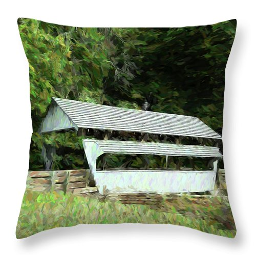 Nature Throw Pillow featuring the photograph Ohio Covered Bridge by Tom Mc Nemar