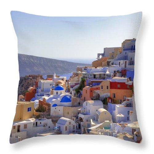 Oia Throw Pillow featuring the photograph Oia - Santorini by Joana Kruse