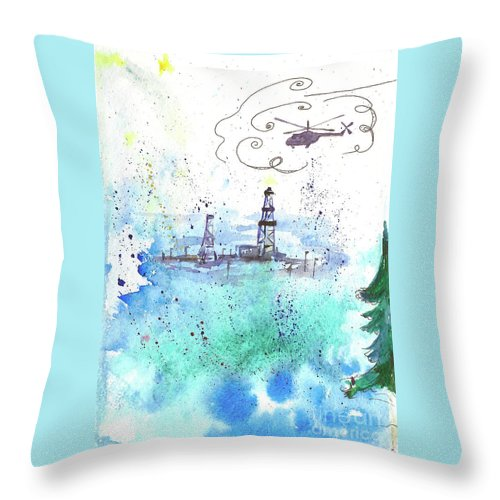 Drilling Throw Pillow featuring the painting Oil Drilling by Yana Sadykova