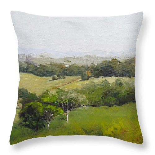 Landscape Throw Pillow featuring the painting Oil Painting From Mt Cooroy Sunshine Coast Queensland Australia by Chris Hobel