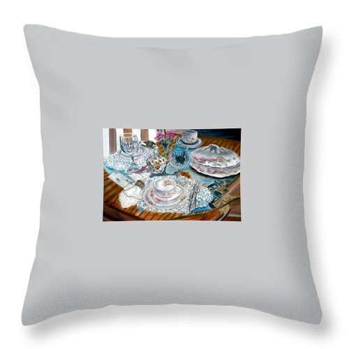 Oil Throw Pillow featuring the painting Oil Painting Still Life China Tea Set by Derek Mccrea