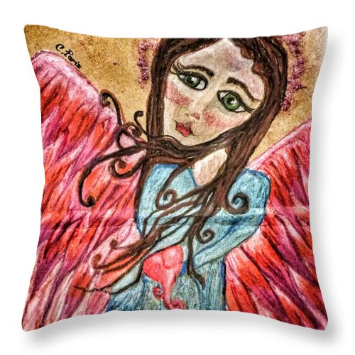 Angel Throw Pillow featuring the painting Oil Pastel Angel by Christine Paris