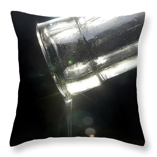 Bottle Throw Pillow featuring the photograph Oil Pouring From Bottle-2 by Steve Somerville
