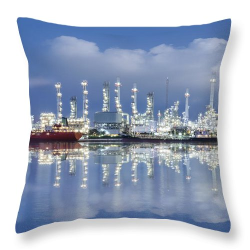 Blue Throw Pillow featuring the photograph Oil Refinery Industry Plant by Setsiri Silapasuwanchai