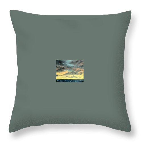 Oil Throw Pillow featuring the painting Oil Skyscape Painting by Derek Mccrea