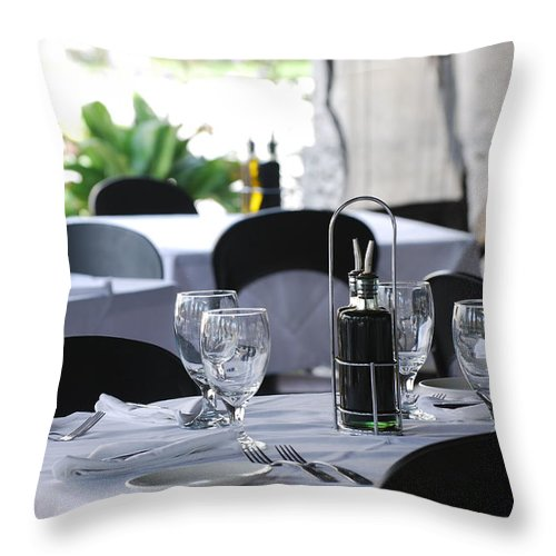 Tables Throw Pillow featuring the photograph Oils And Glass At Dinner by Rob Hans