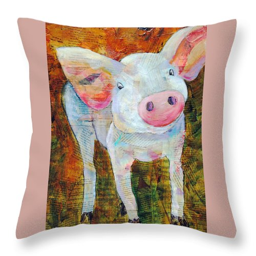 White Throw Pillow featuring the painting Oink by Kay Fuller