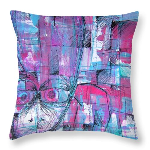 Creature Throw Pillow featuring the drawing Ojo by Jera Sky