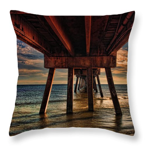 Okaloosa County Throw Pillow featuring the photograph Okaloosa Pier by Gaby Swanson