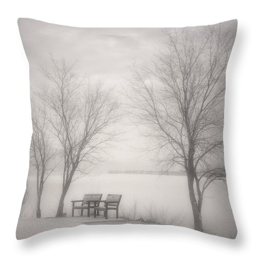Black&white Throw Pillow featuring the photograph Okanagan Mist by Tara Turner