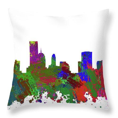 Oklahoma City Throw Pillow featuring the digital art Oklahoma City Skyline Painted by Ricky Barnard