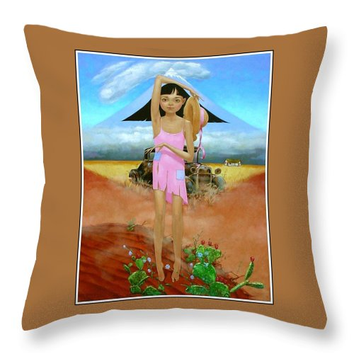 Country Girl Throw Pillow featuring the painting Oklahoma Girl With Mt.fuji by Jerrold Carton