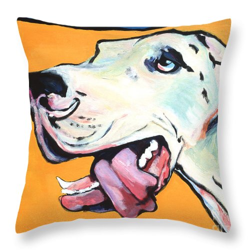 Commissioned Pet Portraits Available Throw Pillow featuring the painting Ol' Blue Eye by Pat Saunders-White