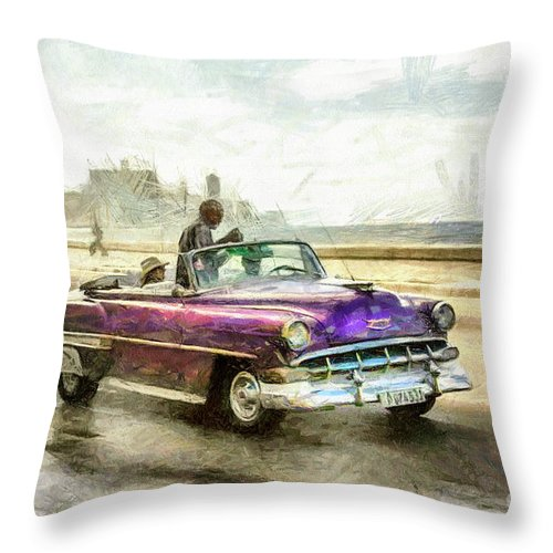 Old American Chevrolet 1950s Cars Throw Pillow