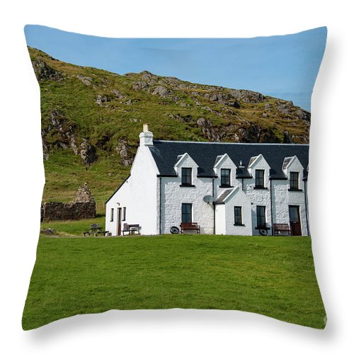 Isle Of Iona Throw Pillow featuring the photograph Old And New Iona Architecture by Bob Phillips