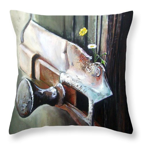 Rusty Old Flowers Buttercup Dasiy Green Wood Throw Pillow featuring the painting Old And Rusty by Arie Van der Wijst