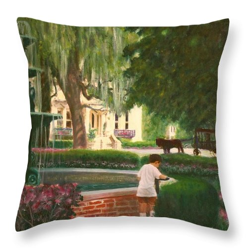 Savannah; Fountain; Child; House Throw Pillow featuring the painting Old And Young Of Savannah by Ben Kiger