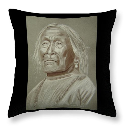 Apache Throw Pillow featuring the drawing Old Apache Scout by Edward Stamper
