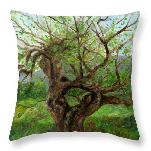 Apple Tree Throw Pillow featuring the painting Old Apple Tree by FT McKinstry