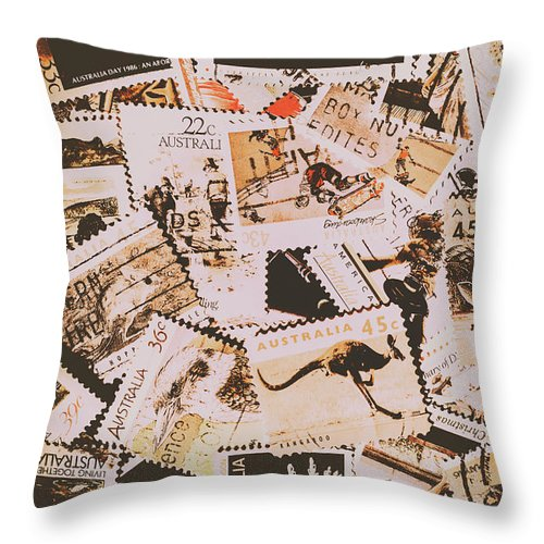 Australia Throw Pillow featuring the photograph Old Australia In Stamps by Jorgo Photography - Wall Art Gallery