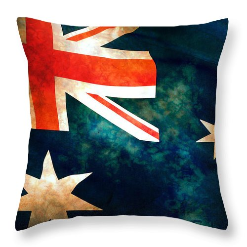 Australia Throw Pillow featuring the photograph Old Australian Flag by Phill Petrovic