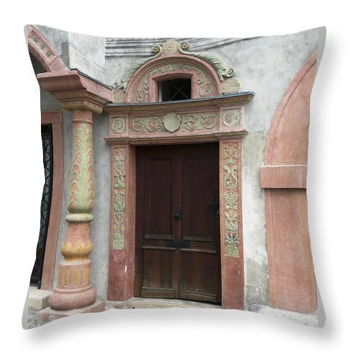 Old Throw Pillow featuring the photograph Old Austrian Door by Valerie Ornstein