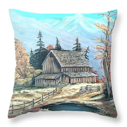Landscape Pond Wagon Old Trees Mountain Throw Pillow featuring the painting Old Barn above the Pond by Kenneth LePoidevin