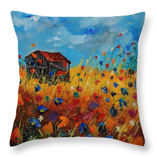 Flowers Throw Pillow featuring the painting Old Barn And Wild Flowers by Pol Ledent