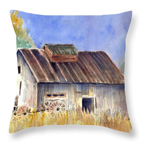 Barn Throw Pillow featuring the painting Old Barn by Arline Wagner